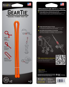 Bild på Nite Ize Gear Tie 12-Bright Orange 2-pack