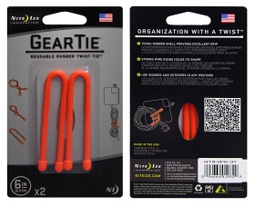 Bild på Nite Ize Gear Tie 6- Bright Orange 2-pack